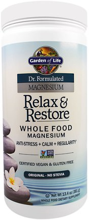 Dr. Formulated Magnesium Relax & Restore, Original, 13.4 oz (381 g) by Garden of Life, 補充劑,礦物質,鎂,健康,抗壓力情緒支持 HK 香港