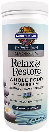 Dr. Formulated Magnesium Relax & Restore, Original, 6.7 oz (190 g) by Garden of Life, 補充劑,礦物質,鎂,健康,抗壓力情緒支持 HK 香港