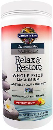 Dr. Formulated Magnesium Relax & Restore, Raspberry Lemon, 16.3 oz (461 g) by Garden of Life, 補充劑,礦物質,鎂,健康,抗壓力情緒支持 HK 香港