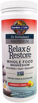 Dr. Formulated Magnesium Relax & Restore, Raspberry Lemon, 8.1 oz (230 g) by Garden of Life, 補充劑,礦物質,鎂,健康,抗壓力情緒支持 HK 香港