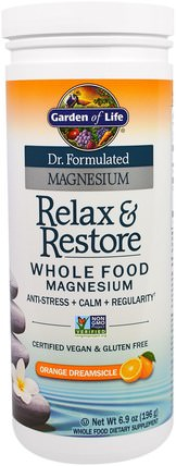Dr. Formulated Magnesium, Relax & Store, Orange Dreamsicle, 6.9 oz (196 g) by Garden of Life, 補充劑,礦物質,鎂,健康,抗壓力情緒支持 HK 香港