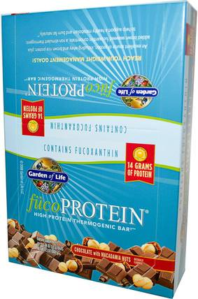 FucoProtein, High Protein Thermogenic Bar, Chocolate with Macadamia Nuts, 12 Bars, 1.94 oz (55 g) Each by Garden of Life, 運動,蛋白質棒,efa omega 3 6 9(epa dha),正大種子 HK 香港