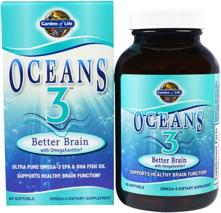 Oceans 3, Better Brain with OmegaXanthin, 90 Softgels by Garden of Life, 健康,注意力缺陷障礙,添加,adhd,腦,長春西汀 HK 香港