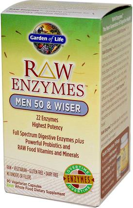 RAW Enzymes, Men 50 & Wiser, 90 Veggie Caps by Garden of Life, 健康,男人,補品,酶 HK 香港