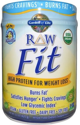 RAW Organic Fit, High Protein for Weight Loss, Vanilla, 15 oz (420 g) by Garden of Life, 健康,飲食 HK 香港