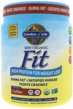 Raw Organic Fit, High Protein for Weight Loss, Coffee, 16 oz (454 g) by Garden of Life, 健康,飲食 HK 香港