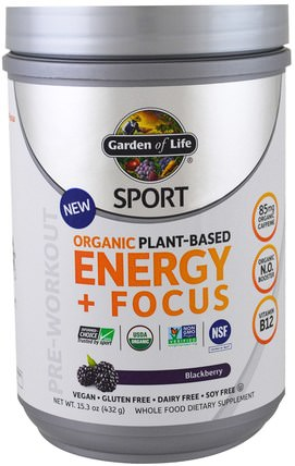 Garden of Life, Sport, Organic Plant-Based Energy + Focus, Pre-Workout, Blackberry, 15.3 oz (432 g) 運動,鍛煉