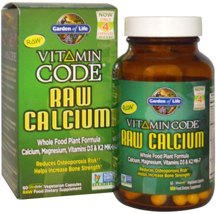 Vitamin Code, Raw Calcium, 60 UltraZorbe Vegetarian Capsules by Garden of Life, 補品,礦物質,鈣 HK 香港