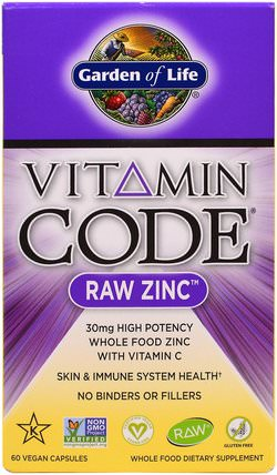 Vitamin Code, Raw Zinc, 60 Veggie Caps by Garden of Life, 補品,礦物質,鋅 HK 香港