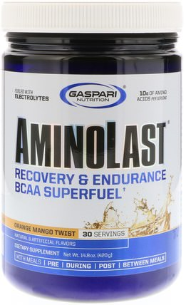 Aminolast, Recovery & Endurance BCAA Superfuel, Orange Mango Twist, 14.8 oz (420 g) by Gaspari Nutrition, 補充劑,氨基酸,bcaa(支鏈氨基酸),運動,鍛煉 HK 香港
