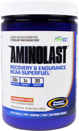 Aminolast, Recovery & Endurance BCAA Superfuel, Strawberry Kiwi, 14.8 oz (420 g) by Gaspari Nutrition, 補充劑,氨基酸,bcaa(支鏈氨基酸),運動,鍛煉 HK 香港