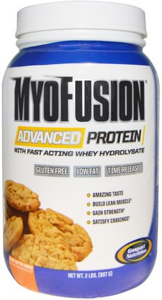 MyoFusion, Advanced Protein, Peanut Butter Cookie, 2 lbs (907 g) by Gaspari Nutrition, 補充劑,乳清蛋白,肌肉 HK 香港