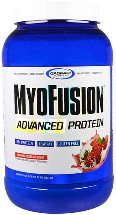 Gaspari Nutrition, MyoFusion, Advanced Protein, Strawberries & Cream, 2 lbs (907 g) 補品,蛋白質,肌肉