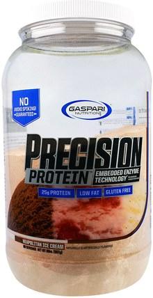 Gaspari Nutrition, Precision Protein, Neopolitan Ice Cream, 2 lbs (907 g) 補充劑,蛋白質,運動蛋白質,運動,肌肉