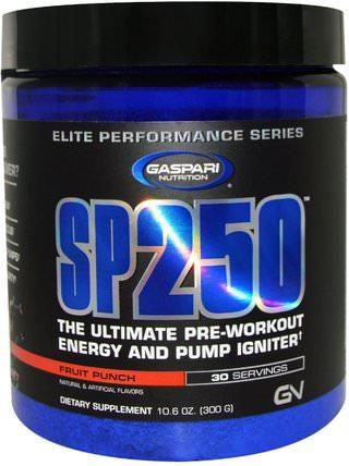 Gaspari Nutrition, SP250, Pre-Workout, Fruit Punch, 10.6 oz (300 g) 健康,能量,運動,鍛煉