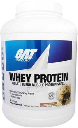 GAT, Whey Protein Isolate Blend Muscle Protein Shake, Cookies & Cream, 5 lbs (2268 g) 補品,蛋白質,肌肉