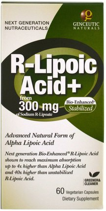 R-Lipoic Acid+, 300 mg, 60 Veggie Caps by Genceutic Naturals, 補充劑,抗氧化劑,α硫辛酸 HK 香港