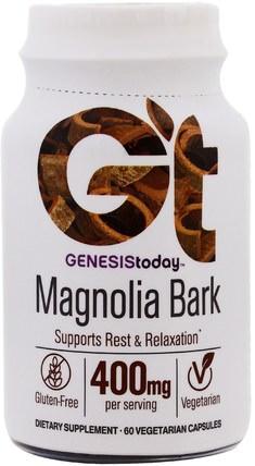 Genesis Today, Magnolia Bark, 400 mg, 60 Vegetarian Capsules 草藥,木蘭樹皮(phellodendron),日常營養