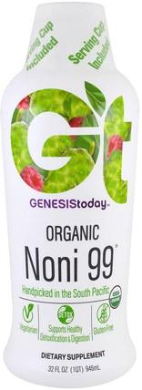 Genesis Today, Organic Noni99, 32 fl oz (946.3 ml) 草藥,諾麗果汁提取物,諾麗果汁,補品