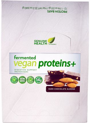 Fermented Vegan Proteins +, Dark Chocolate Almond, 12 Protein Bars, 1.94 oz (55 g) Each by Genuine Health Corporation, 運動,蛋白質棒 HK 香港