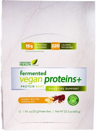 Genuine Health Corporation, Fermented Vegan Proteins +, Peanut Butter Chocolate, 12 Protein Bars, 1.94 oz (55 g) Each 運動,蛋白質棒