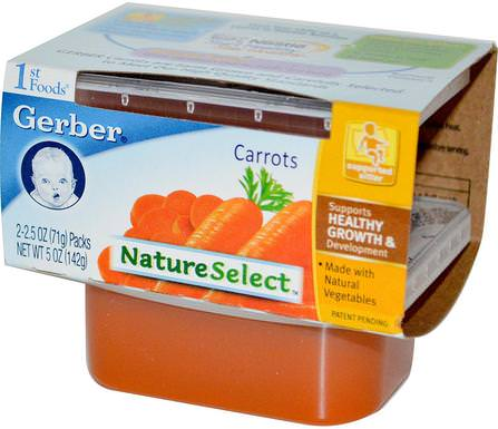 1st Foods, NatureSelect, Carrots, 2 Packs, 2.5 oz (71 g) Each by Gerber, 兒童健康,兒童食品,嬰兒餵養,食物 HK 香港