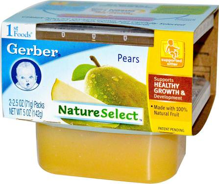 Gerber, 1st Foods, NatureSelect, Pears, 2 Pack, 2.5 oz (71 g) Each 兒童健康,兒童食品,嬰兒餵養,食物