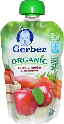 2nd Foods, Organic Baby Food, Carrots, Apples & Mangoes, 3.5 oz (99 g) by Gerber, 兒童健康,兒童食品,嬰兒餵養,食物 HK 香港