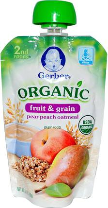 2nd Foods, Organic Baby Food, Fruit & Grain, Pear Peach Oatmeal, 3.5 oz (99 g) by Gerber, 兒童健康,兒童食品,嬰兒餵養,食物 HK 香港