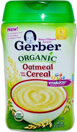 Organic Oatmeal Cereal, Whole Grain, 8 oz (227 g) by Gerber, 兒童健康,兒童食品,嬰兒餵養,嬰兒穀物 HK 香港