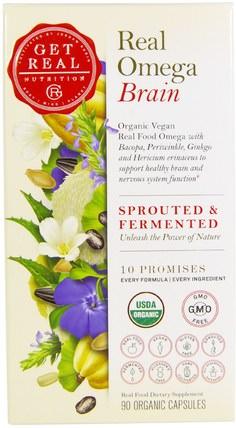 Get Real Nutrition, Real Omega Brain, 90 Organic Capsules 補充劑,efa歐米茄3 6 9(epa dha),歐米茄369粒/標籤
