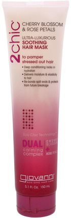 2Chic, Ultra-Luxurious, Soothing Hair Mask, Cherry Blossom & Rose Petals, 5.1 fl oz (150 ml) by Giovanni, 洗澡,美容,頭髮,頭皮 HK 香港
