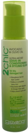2Chic, Ultra-Moist Leave-In Conditioning & Styling Elixir, Avocado & Olive Oil, 4 fl oz (118 ml) by Giovanni, 洗澡,美容,頭髮,頭皮 HK 香港