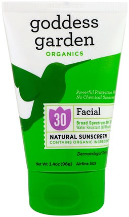 Organics, Facial, Natural Sunscreen, SPF 30, 3.4 oz (96 g) by Goddess Garden, 洗澡,美容,防曬霜,spf 30-45,兒童和嬰兒防曬霜 HK 香港