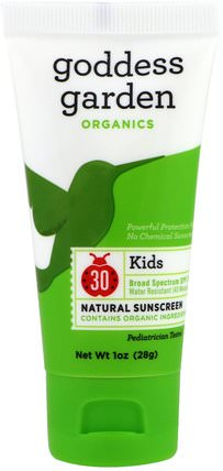 Organics, Kids, Natural Sunscreen, SPF 30, 1 oz (28 g) by Goddess Garden, 洗澡,美容,防曬霜,spf 30-45,兒童和嬰兒防曬霜 HK 香港