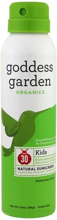 Goddess Garden, Organics, Kids, Natural Sunscreen, SPF 30, 3.4 oz (96 g) 洗澡,美容,防曬霜,spf 30-45