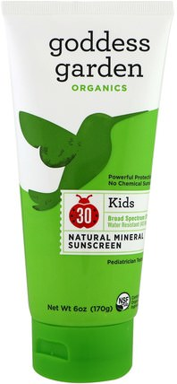 Organics, Kids, Natural Sunscreen, SPF 30, 6 oz (170 g) by Goddess Garden, 洗澡,美容,防曬霜,spf 30-45,兒童和嬰兒防曬霜 HK 香港