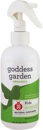 Organics, Kids Natural Sunscreen, SPF 30, 8 oz (236 ml) by Goddess Garden, 洗澡,美容,防曬霜,spf 30-45,兒童和嬰兒防曬霜 HK 香港