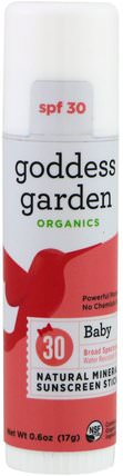 Organics, Natural Mineral Sunscreen Stick, Baby, SPF 30, 0.6 oz (17 g) by Goddess Garden, 洗澡,美容,防曬霜,spf 30-45,兒童和嬰兒防曬霜 HK 香港