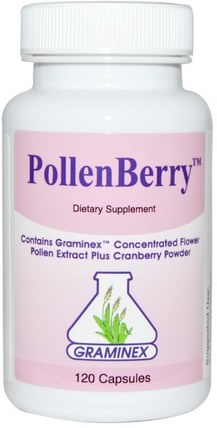 PollenBerry, 120 Capsules by Graminex, 草藥,蔓越莓,花粉提取物 HK 香港