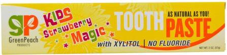 GreenPeach, Kids Strawberry Magic Toothpaste, 2 oz (57 g) 洗澡,美容,牙膏,兒童和嬰兒牙膏