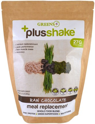 Plusshake, Meal Replacement, Raw Chocolate, 1.5 lb (690 g) by Greens Plus, 補充劑,蛋白質 HK 香港