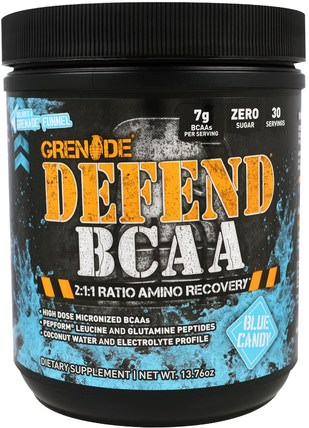Defend BCAA, Blue Candy, 13.76 oz (390 g) by Grenade, 補充劑,氨基酸,bcaa(支鏈氨基酸) HK 香港