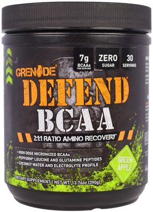 Defend BCAA, Green Apple, 13.76 oz (390 g) by Grenade, 補充劑,氨基酸,bcaa(支鏈氨基酸) HK 香港