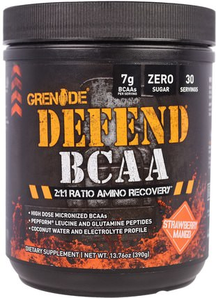 Defend BCAA, Strawberry Mango, 13.76 oz (390 g) by Grenade, 補充劑,氨基酸,bcaa(支鏈氨基酸) HK 香港