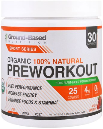 Ground Based Nutrition, Organic PreWorkout, Wild Berry, 225 g 健康,能量,運動