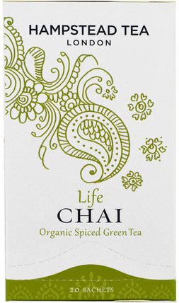 Organic Spiced Green Tea, Life Chai, 20 Sachets by Hampstead Tea, 食物,涼茶,柴茶 HK 香港