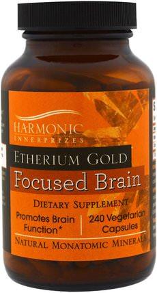 Harmonic Innerprizes, Etherium Gold, Focused Brain, 240 Vegetarian Capsules 補充劑,礦物質,單原子礦物質,醚