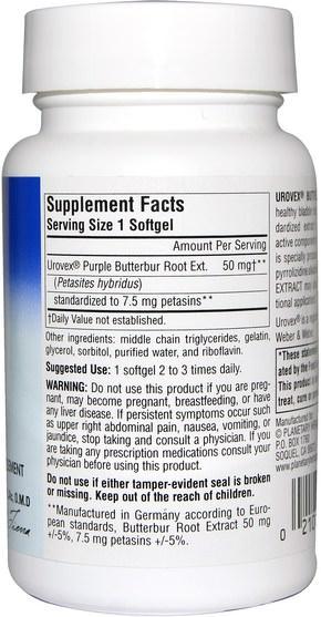 健康,過敏,蜂斗菜 - Planetary Herbals, Urovex, Butterbur Extract, 20 Softgels