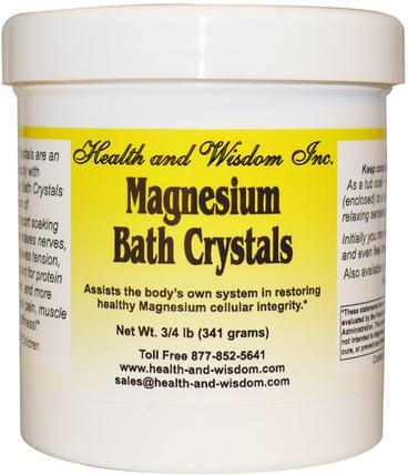 3/4 lb (341 g) by Health and Wisdom Magnesium Bath Crystals, 洗澡,美容,沐浴鹽,抗疼痛 HK 香港